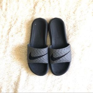 6a12c1f53a486d ... denmark nike shoes nike benassi solar soft slide 2 grey slip sandals  18ac5 e116f